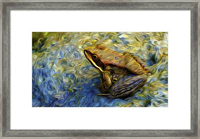 Framed Print featuring the digital art Little Brown Frog by Timothy Hack
