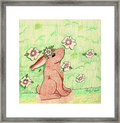Framed Print featuring the drawing Little Bunny Big Dreams by Wendy Coulson