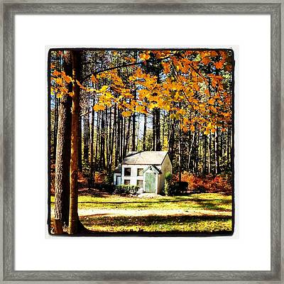 Little Cabin In The Woods Framed Print by Amanda Enos