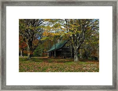 Little Cabin In The Woods Framed Print by Benanne Stiens