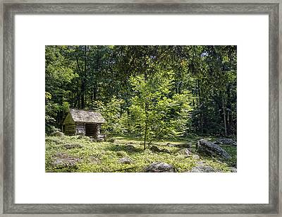 Little Cabin In The Woods Framed Print by Cricket Hackmann