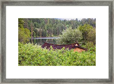 Little Cabin On A Lake Framed Print by Omaste Witkowski