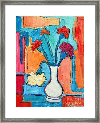 Little Carnations China Pink Flowers Framed Print by Ana Maria Edulescu