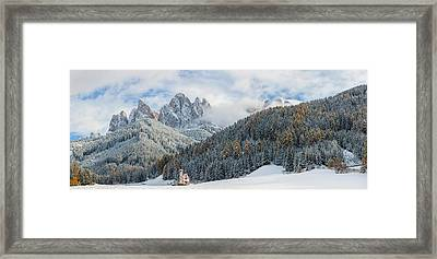 Little Church At The Snowy Valley Framed Print by Panoramic Images
