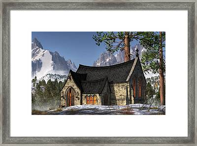 Little Church In The Snow Framed Print by Christian Art