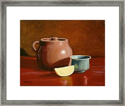 Little Clay Pots And Lemon Framed Print by Daniel Kansky