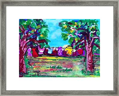 Framed Print featuring the painting Little Clothing Line by Ecinja Art Works