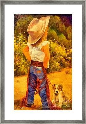 Little Cowgirl Framed Print