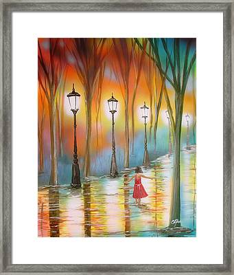 Framed Print featuring the painting Little Debbie Playing In The Rain by Chris Fraser