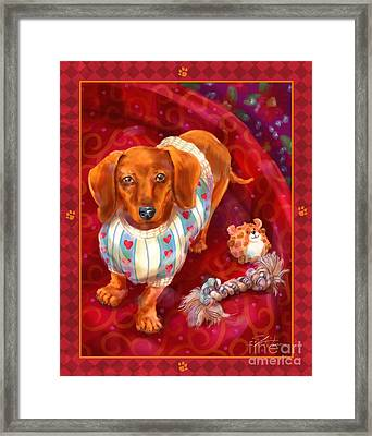 Little Dogs - Dachshund Framed Print by Shari Warren