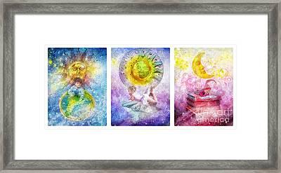 Little Dream Triptic Framed Print by Mo T