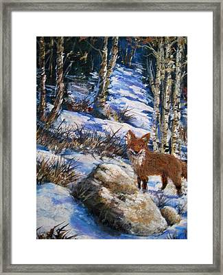 Framed Print featuring the painting Little Fox by Megan Walsh