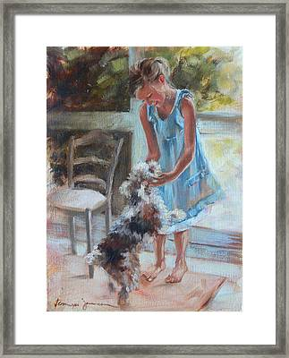 Little Girl And Dog Framed Print