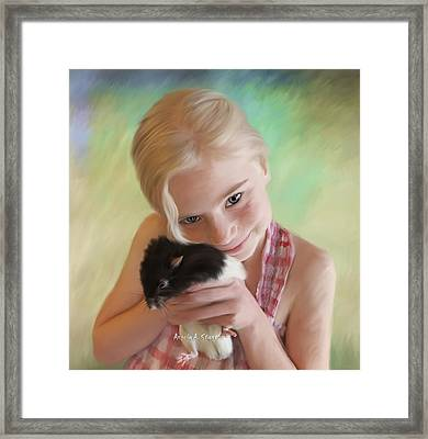 Little Girl And Pet Rat Framed Print by Angela A Stanton