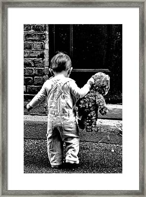 Little Girl And Teddy Bear Framed Print by Jon Van Gilder