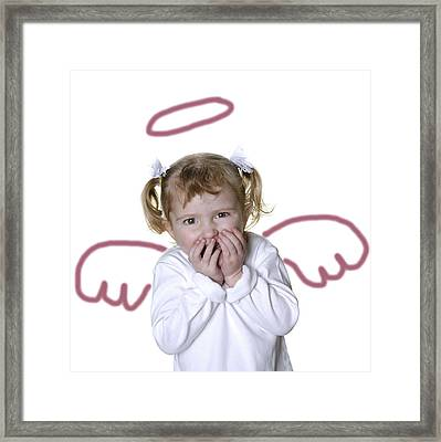 Little Girl Angel Framed Print by Lane Erickson