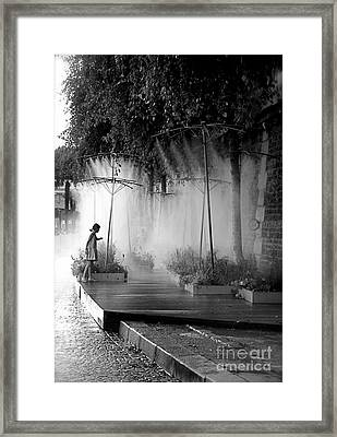 Little Girl At Paris Plages II Framed Print