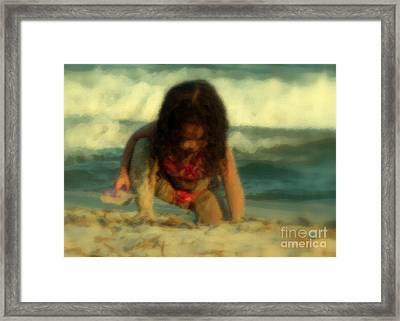 Framed Print featuring the photograph Little Girl At The Beach by Lydia Holly