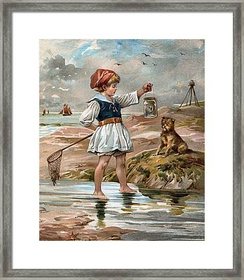 Little Girl At The Beach Framed Print by Unknown