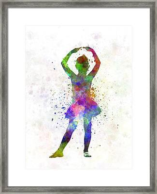 Little Girl Ballerina Ballet Dancer Dancing Framed Print by Pablo Romero