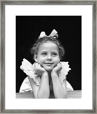 Little Girl Daydreaming, C.1940s Framed Print
