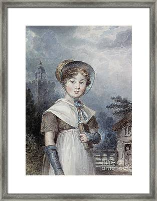 Little Girl In A Quaker Costume Framed Print by Isaac Pocock
