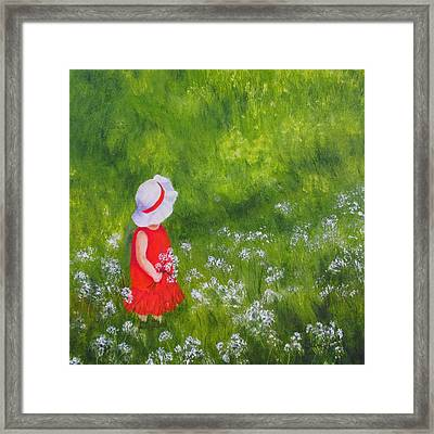 Girl In Meadow Framed Print