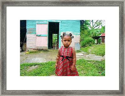 Little Girl In Plaid Dress Framed Print by Susan Morry