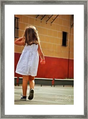 Little Girl In White Dress Framed Print