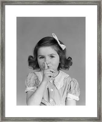 Little Girl Making Shushing Gesture Framed Print