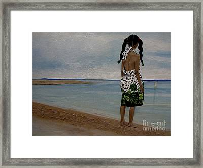 Little Girl On The Beach Framed Print