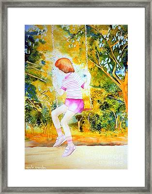 Little Girl On The Park Swing Westmount Quebec City Scene Montreal Art Framed Print by Carole Spandau