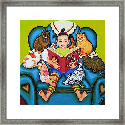 Little Girl Reading To Doll Cats Chickens Framed Print by Rebecca Korpita