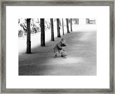 Little Girl With Ball Paris Framed Print