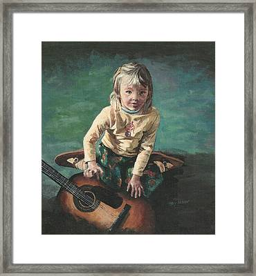 Framed Print featuring the painting Little Girl With Guitar by Joy Nichols