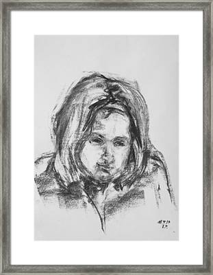 Little Girl With Hairband Framed Print by Barbara Pommerenke