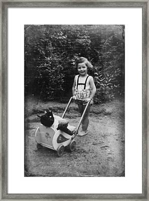 Little Girl With Her Teddy Framed Print