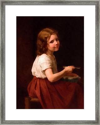 Little Girl With Soup Framed Print by William Bouguereau