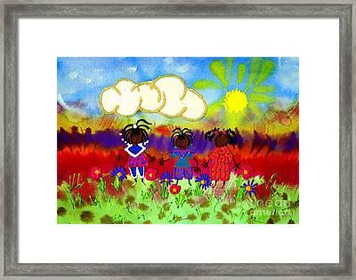 Little Girlfriends Framed Print by Angela L Walker