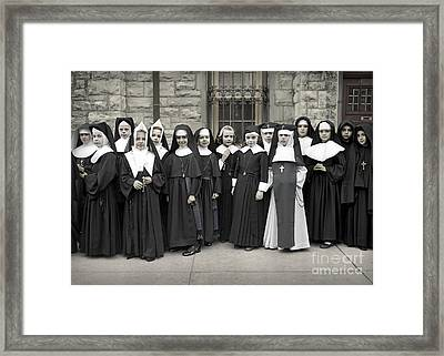 Young Girls Modeling Nun Habits Framed Print