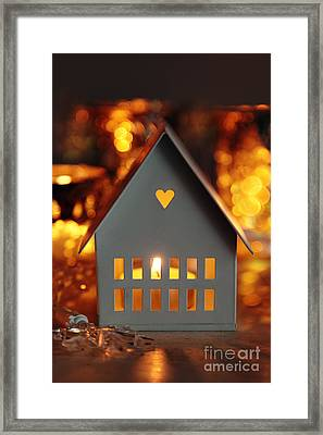 Framed Print featuring the photograph Little Gray House Lit With Candle For The Holidays by Sandra Cunningham