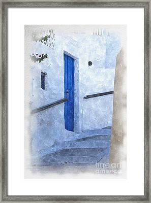 Little Greek Street Steps Framed Print