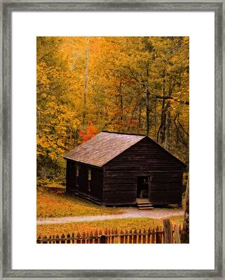 Little Greenbrier Schoolhouse In Autumn  Framed Print by Dan Sproul
