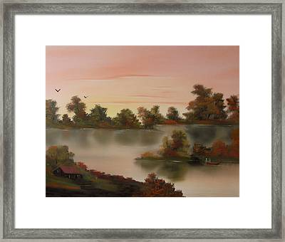 Little Haven At Sunset Framed Print by Cynthia Adams