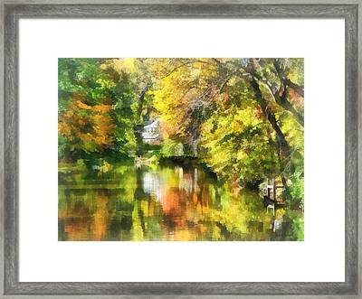 Little House By The Stream In Autumn Framed Print by Susan Savad
