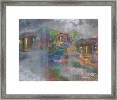 Framed Print featuring the painting Little Houses On A Rainy Night  by Nereida Rodriguez