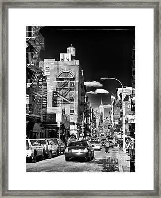 Little Italy Walking Framed Print by John Rizzuto