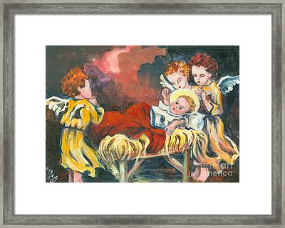 Little Jesus And The Angels Framed Print by Elisabeta Hermann