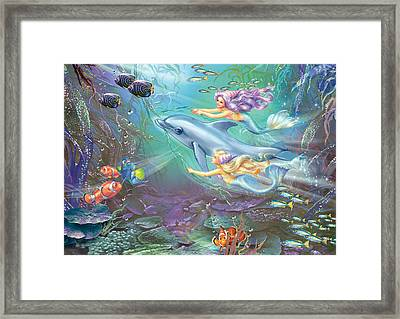 Little Mermaids And Dolphin Framed Print by Zorina Baldescu