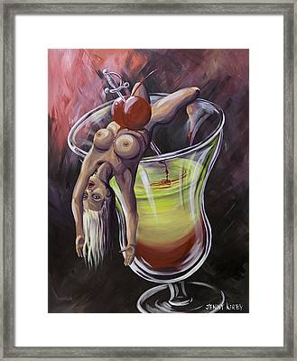 Little Miss Liquid Courage Framed Print by Jenny Kirby